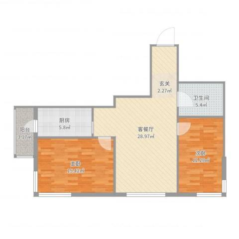 运华广场(江北)2室2厅1卫1厨89.00㎡户型图