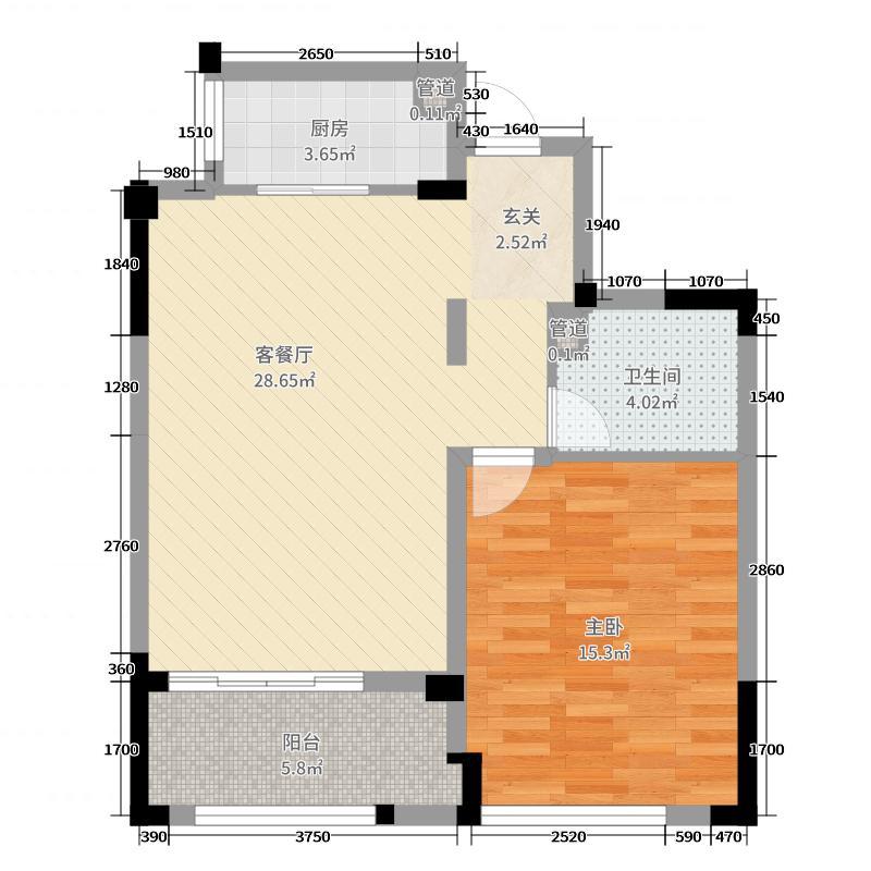 铂金府邸75.00㎡2#一楼H2户型1室1厅1卫1厨
