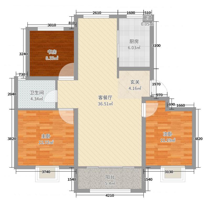 鑫江桂花园105.00㎡B户型3室3厅1卫1厨