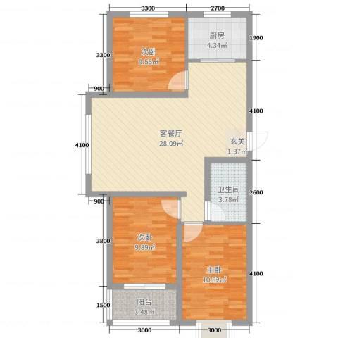 瑞景龙湾3室2厅1卫1厨108.00㎡户型图