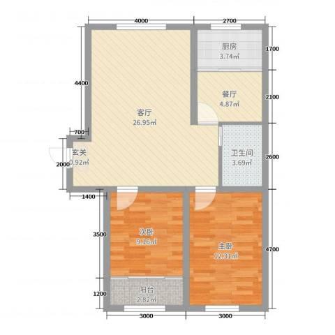 瑞景龙湾2室2厅1卫1厨96.00㎡户型图