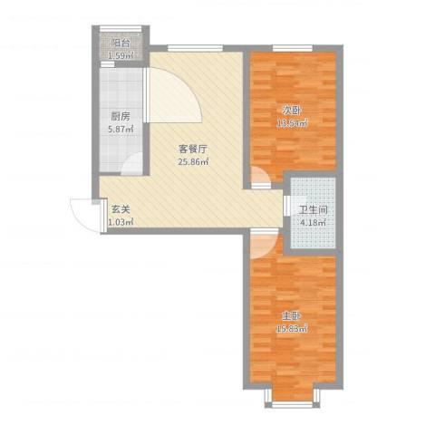 华茂名居2室2厅1卫1厨84.00㎡户型图