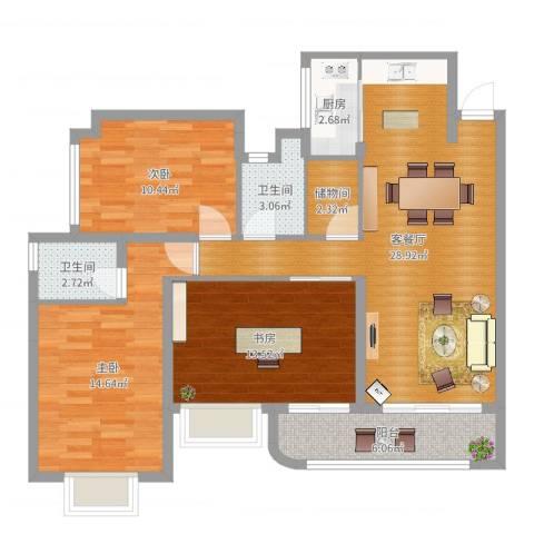 凯茵新城雅湖半岛--美式3室2厅2卫1厨105.00㎡户型图