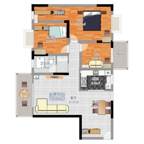 长虹百花沁苑3室1厅1卫1厨121.00㎡户型图