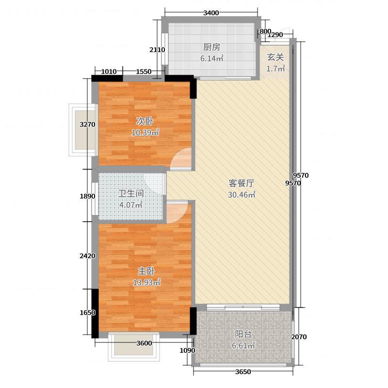 银海龙城89.60㎡A户型2室2厅1卫1厨