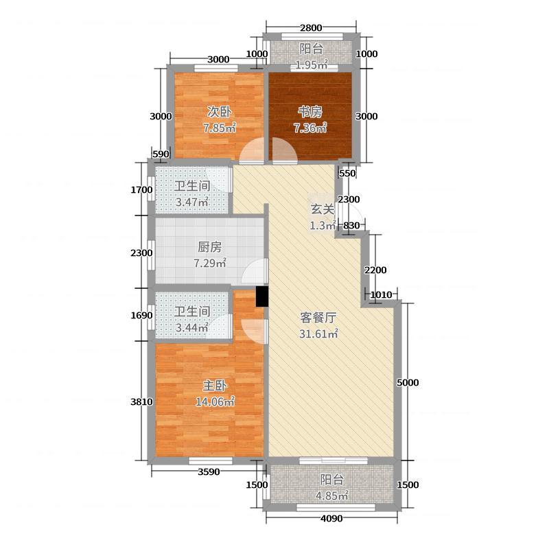 美联德玛假日二期阳光里105.00㎡12、17、20号楼C1户型3室3厅2卫1厨