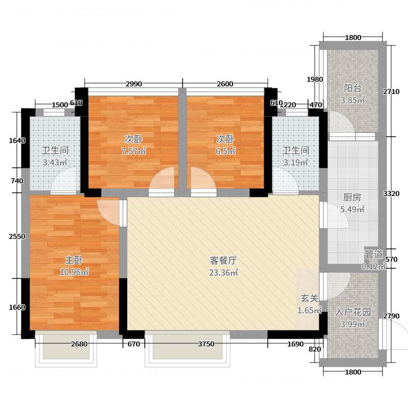 华汇天地93.00㎡2-4栋标准层F户型3室3厅2卫1厨