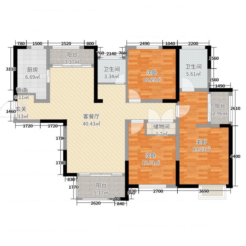 华仁凤凰城142.00㎡7#01户型3室3厅2卫1厨