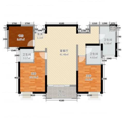 华仁凤凰城3室2厅3卫0厨124.00㎡户型图