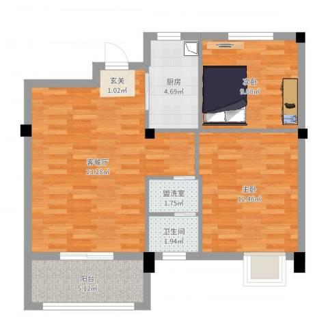 天瑞公馆2室2厅1卫1厨73.00㎡户型图