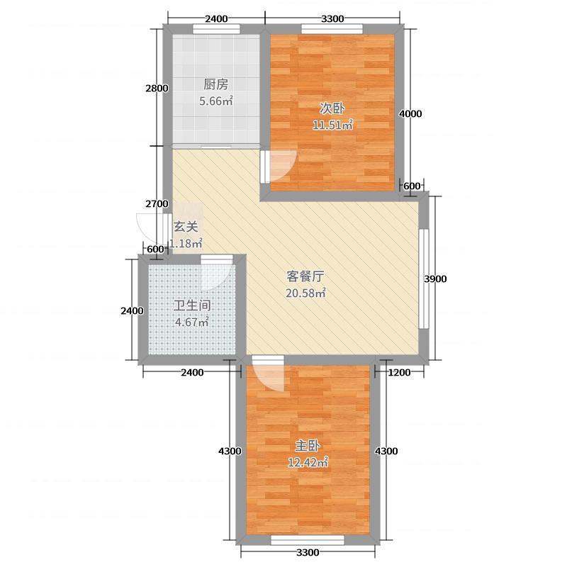 怡景家园89.00㎡1#D户型2室2厅1卫1厨