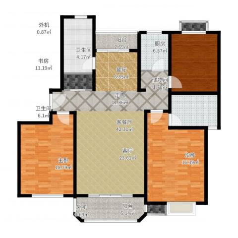 金沙嘉苑3188弄25号202室3室2厅2卫1厨117.63㎡户型图