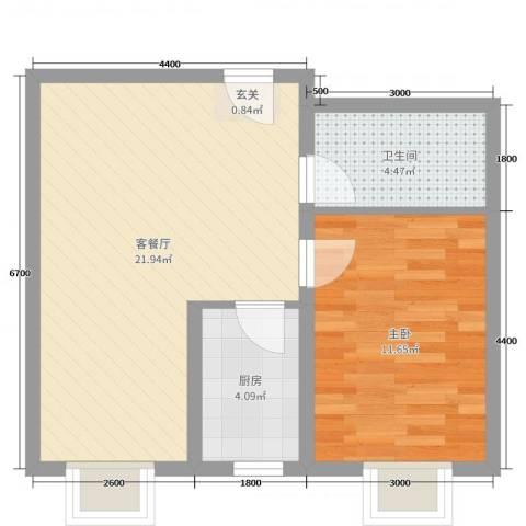 瑞景龙湾1室2厅1卫1厨64.00㎡户型图