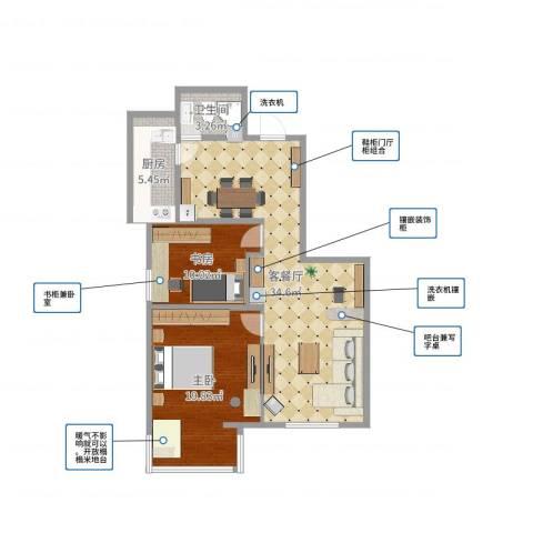 兆丰园一区(秀蝶双座)2室2厅1卫1厨91.00㎡户型图