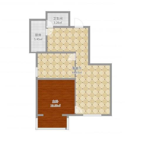 兆丰园一区(秀蝶双座)1室2厅1卫1厨92.00㎡户型图