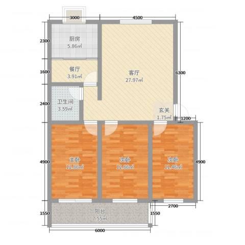 瑞景龙湾3室2厅1卫1厨119.00㎡户型图