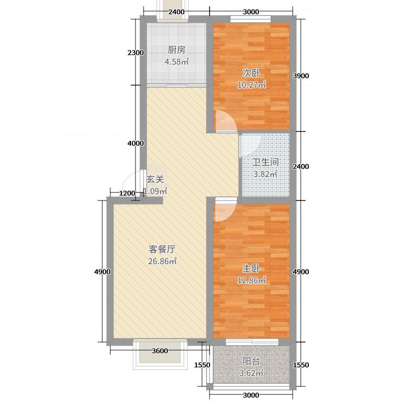 瑞景龙湾85.60㎡856户型2室2厅1卫1厨