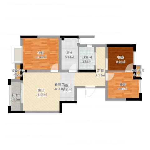 泰达风景3室2厅1卫1厨81.00㎡户型图