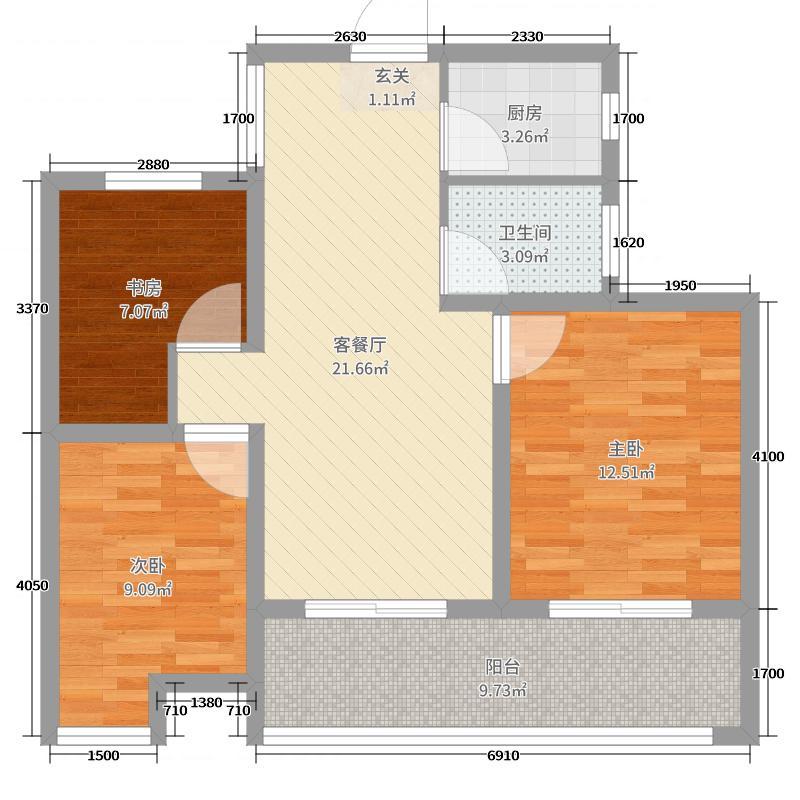 湖东府83.00㎡高层G31-5户型3室3厅1卫1厨