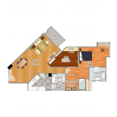 丽江花园左岸2室1厅2卫1厨132.00㎡户型图
