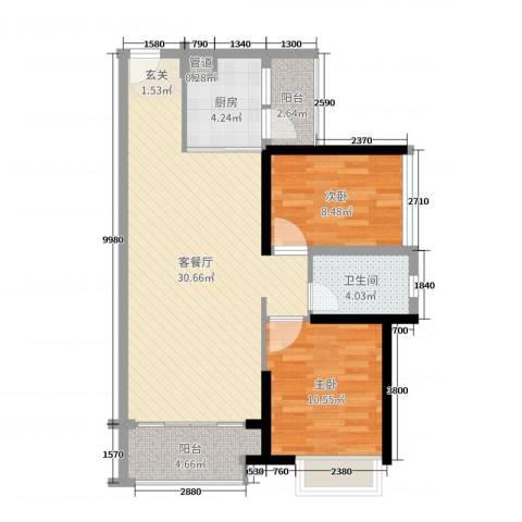 海伦堡爱ME城市2室2厅1卫1厨78.00㎡户型图