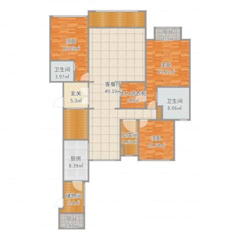 西派国际3室2厅3卫1厨196.00㎡户型图