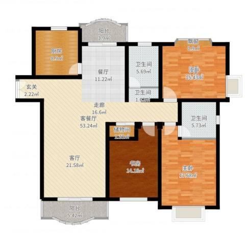 联洋新苑3室2厅2卫1厨166.00㎡户型图