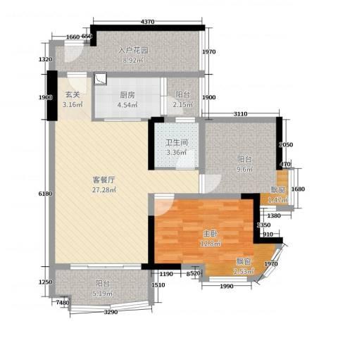 悦盈新城1室2厅1卫1厨91.00㎡户型图