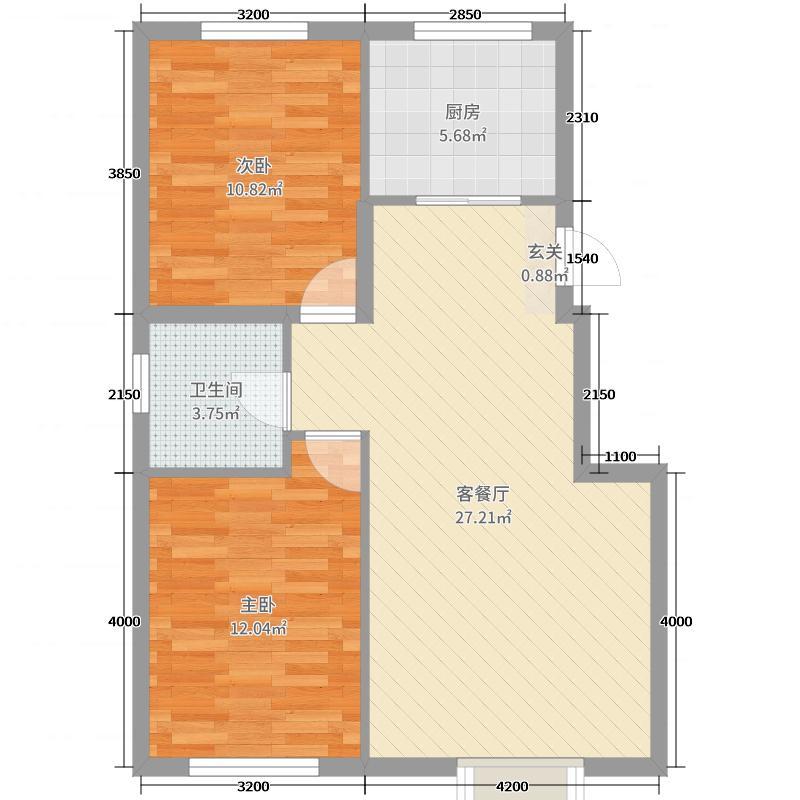 金地红大蓝湾86.00㎡高层1#~3#7#标准层B户型2室2厅1卫1厨