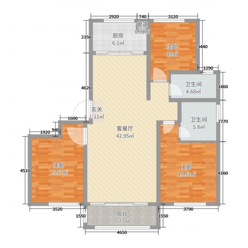 喜来乐・御景湾133.00㎡D3户型3室3厅2卫1厨