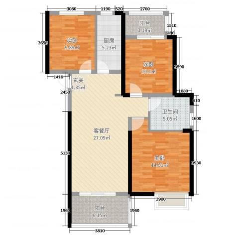 凯旋城3室2厅1卫1厨101.00㎡户型图
