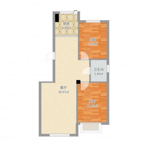 泉水锦泉源2室1厅1卫1厨76.00㎡户型图