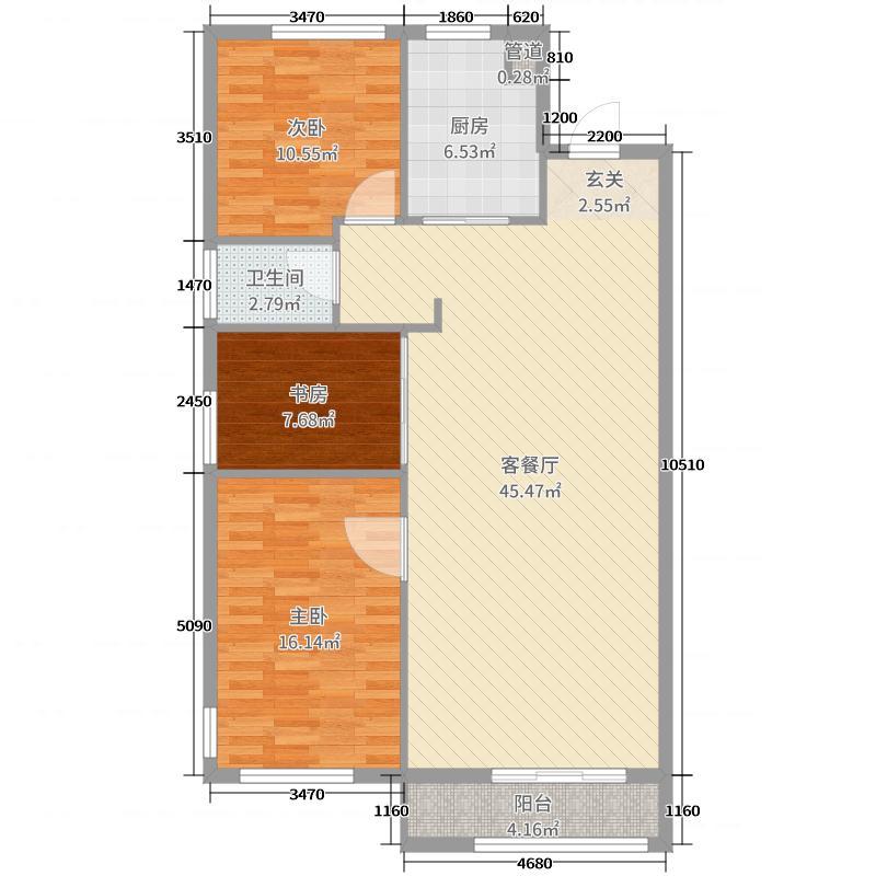 鲁能领秀城・公园世家117.00㎡平面B户型3室3厅1卫1厨