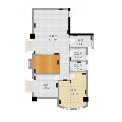 跑马地花园2室2厅2卫1厨94.00㎡户型图