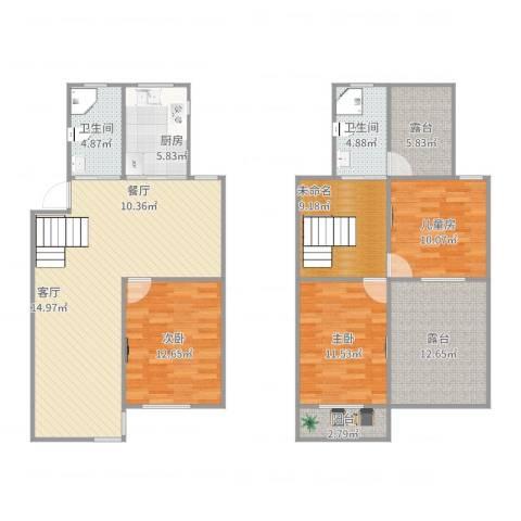 新金山花园3室2厅2卫1厨153.00㎡户型图