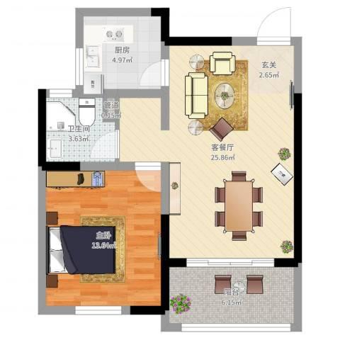 香格里拉花园1室2厅1卫1厨68.00㎡户型图