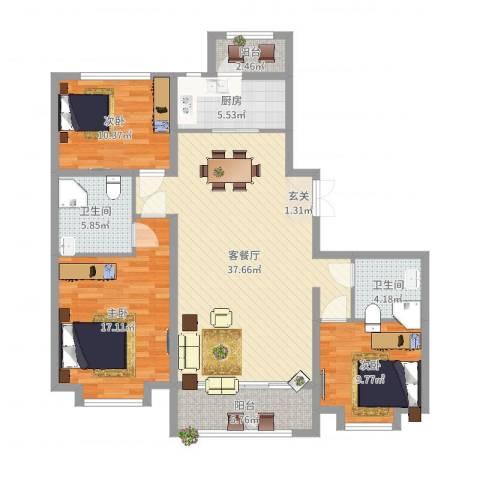 容辰庄园东区3室2厅2卫1厨140.00㎡户型图