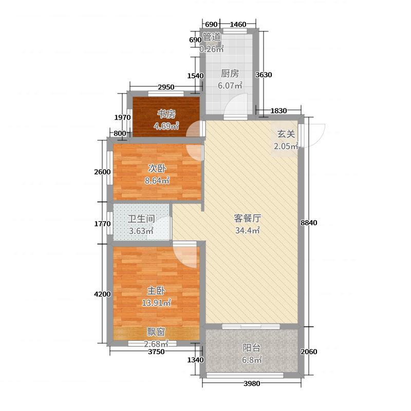 城建琥珀庄园98.00㎡D1户型3室3厅1卫1厨