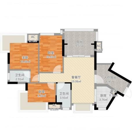 丽雅嘉园1室2厅2卫1厨95.00㎡户型图