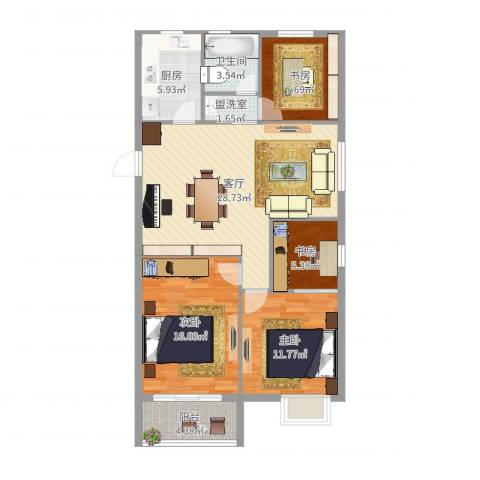 西湖花园4室3厅1卫1厨106.00㎡户型图