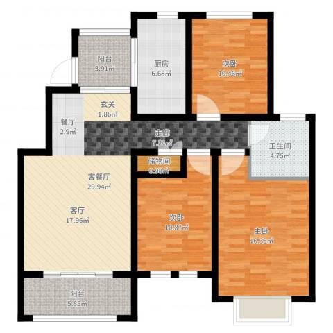 星河蓝湾3室2厅1卫1厨112.00㎡户型图