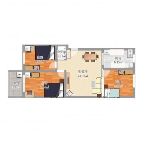 胜景茂园3室2厅1卫1厨76.00㎡户型图