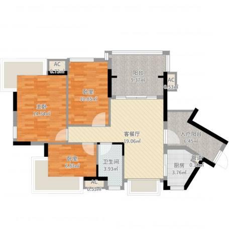 丽雅嘉园1室2厅1卫1厨96.00㎡户型图