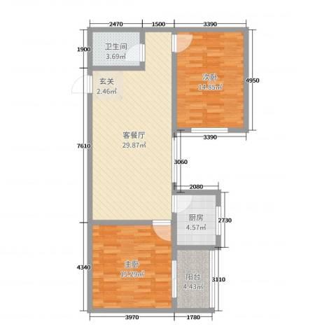 龙悦湾三期2室2厅1卫1厨91.00㎡户型图
