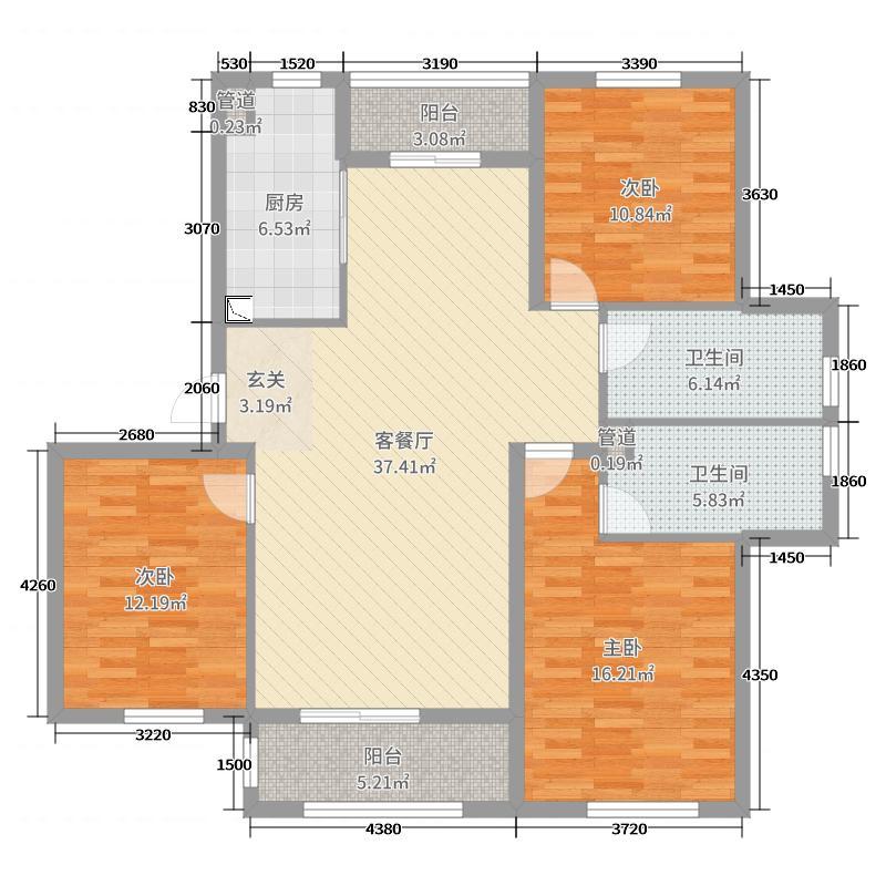 盛世茗居129.82㎡一期2#楼西户3#楼中户5#楼东西户A2户型3室3厅2卫1厨