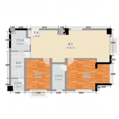 枫丹国际公寓2室1厅3卫1厨118.00㎡户型图