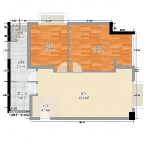 枫丹国际公寓2室1厅1卫1厨91.00㎡户型图