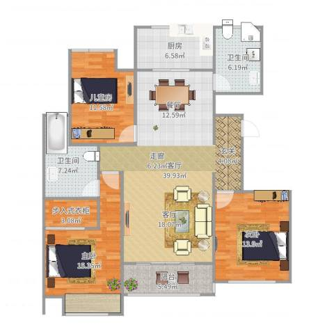 万和华府3室1厅2卫1厨137.00㎡户型图