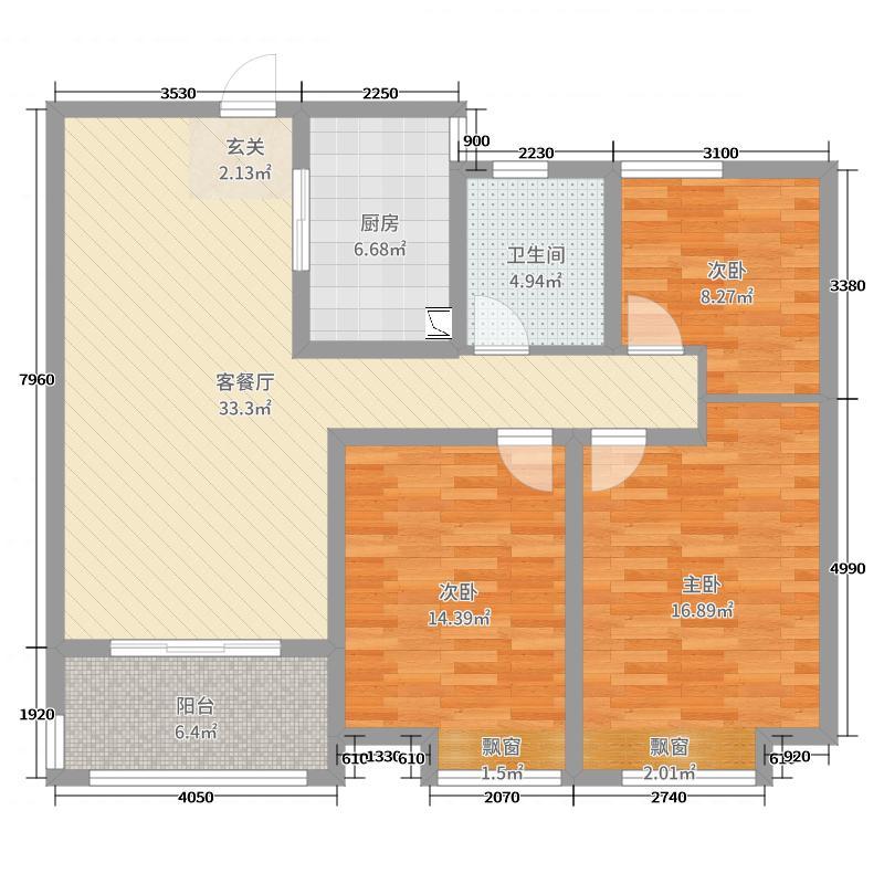 金丰尚城113.59㎡丰县户型3室3厅1卫1厨