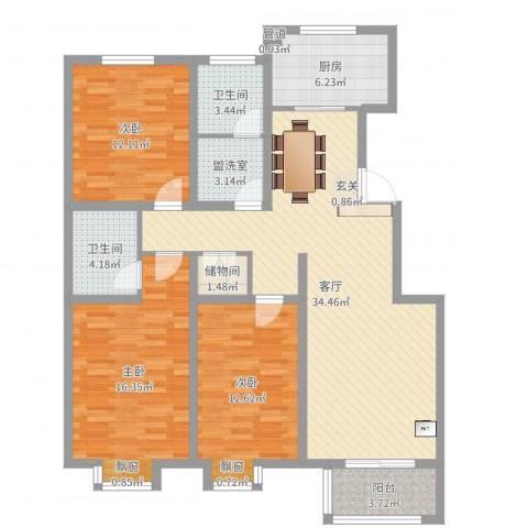 滨港龙湾3室3厅2卫1厨122.00㎡户型图